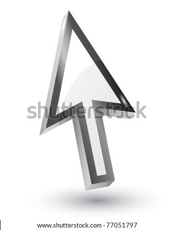 Vector mouse arrow pointers with shadow,3d - stock vector