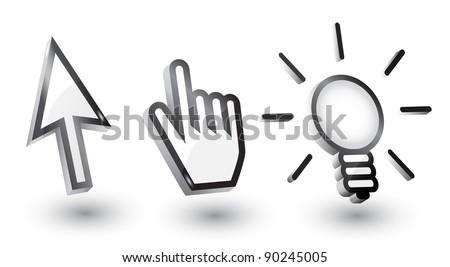 Vector mouse cursors (pointers): arrow, hand, bulb with shadow,3d - stock vector