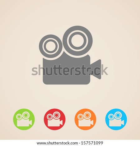 vector movie camera icons - stock vector