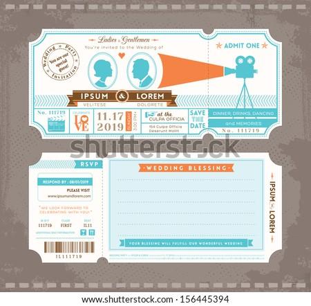 Delightful Vector Movie Ticket Wedding Invitation Design Template