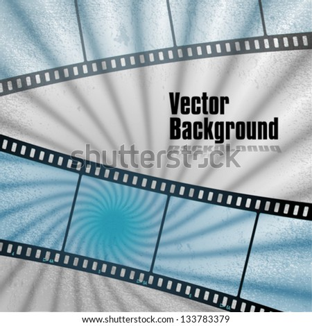 vector: movies film blue light background with space for text or image - stock vector