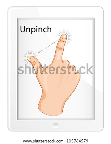 Vector multi-touch gesture for tablets or smartphone. Unpinch.