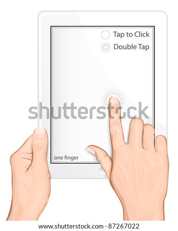 Vector multi-touch gesture for tablets & smartphone. Tap to Click. Double click - stock vector