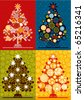 vector multicolor christmas trees - stock photo