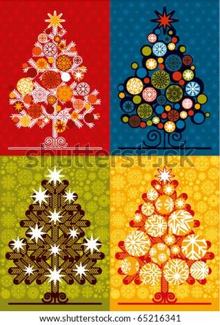 vector multicolor christmas trees - stock vector