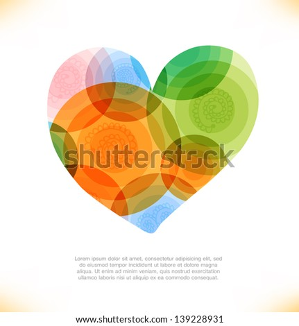 Vector multicolor heart. Love shiny banner. Beauty element for gifts, cards, invitations - stock vector
