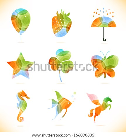 Vector multicolor isolated icons. Symbol collection - stock vector