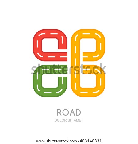 Vector multicolor road logo, icon design. Abstract isolated road symbol. Traffic, transport or road repair service concept. Maps and navigation illustration. Highway sign. - stock vector