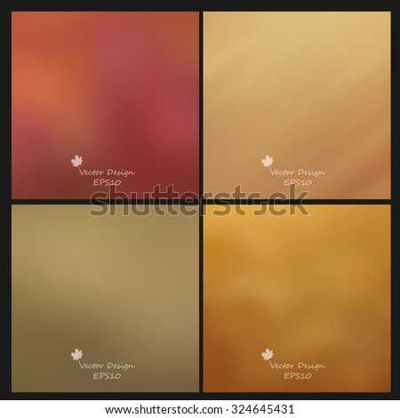 vector multicolored blurred backgrounds set in autumn colors.  Eps10 - stock vector