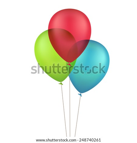 Vector Multicolored Colorful Balloons Isolated on White Background - stock vector