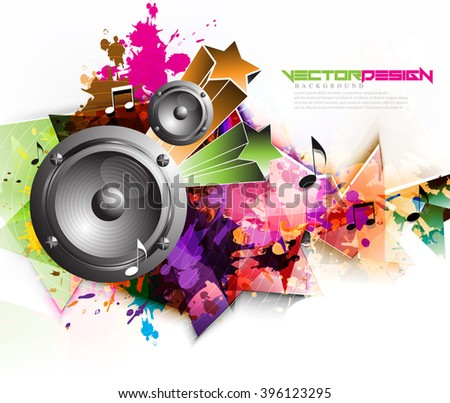 Vector Multicolored Design Speakers Background - stock vector
