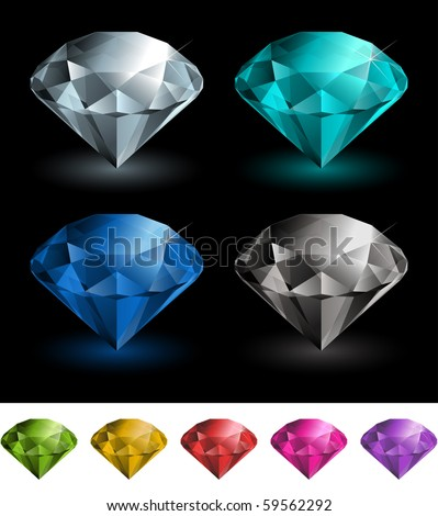 Vector multicolored gemstones collection - stock vector