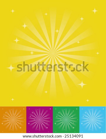 Vector multicolored old abstract sunburst background - stock vector