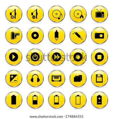 Vector multimedia icons set.