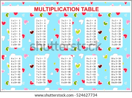 Vector Multiplication Table Multiple Tables School Stock Vector ...