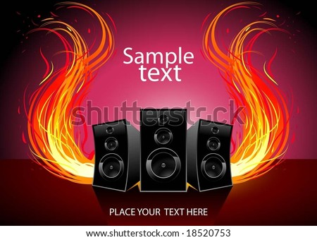vector music and fire wave - stock vector