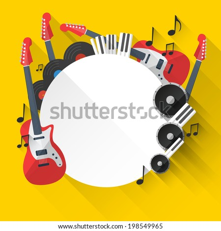 Vector Music Background in Flat style design and Music Equipment with place for your text - stock vector