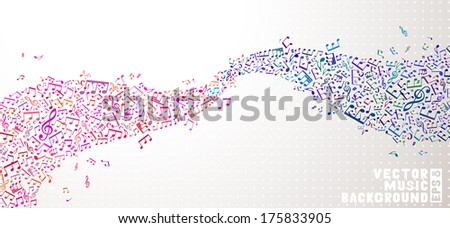 Vector music background. Set of pink and blue notes on light background. Music abstract wave. - stock vector