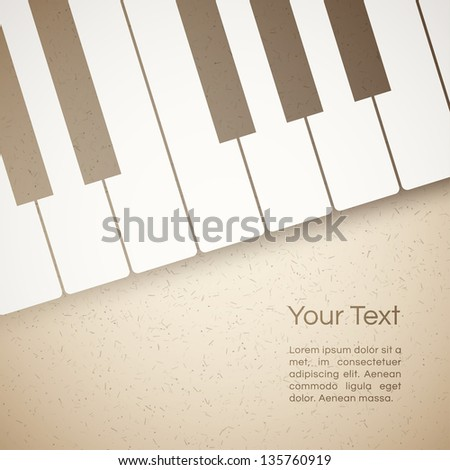 vector music background with paper piano keyboard - stock vector