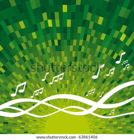 Vector Music background with shine green background
