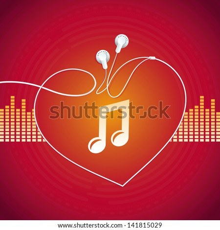 Vector music concept - abstract background with headphones icon - stock vector