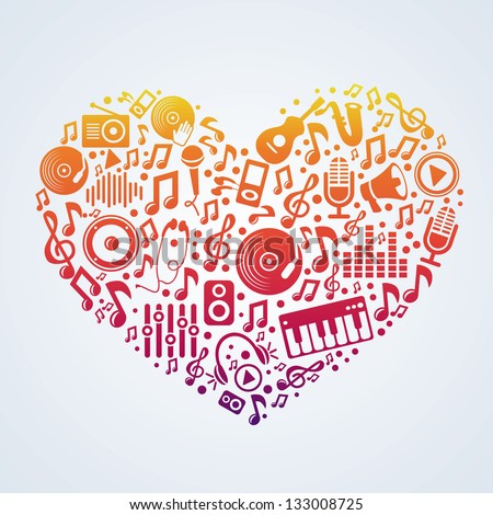 Vector music concept - signs and symbols in heart shape - stock vector