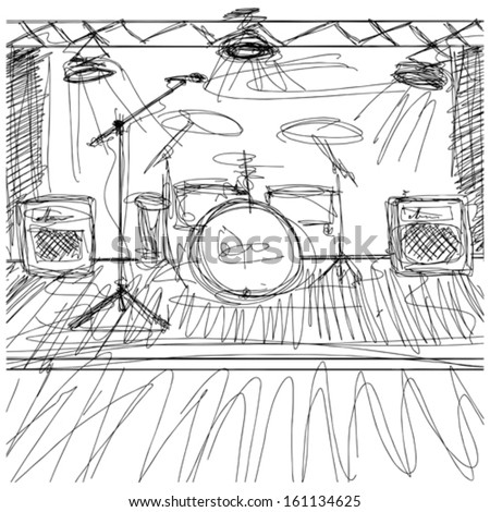 Vector Music concept. Sketch background with music - stock vector
