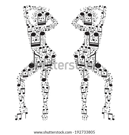 vector music dance girl (notes) - stock vector