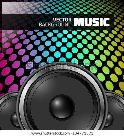 Vector music design - colorful night party - stock vector
