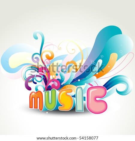 vector music design with floral around it - stock vector