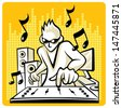 Vector Music DJ Music DJ in action. Vector EPS10 file. - stock vector