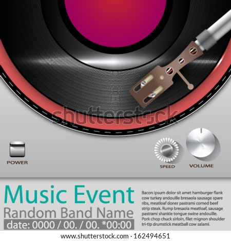 Vector Music Event poster with Vinyl playing gramophone background - stock vector