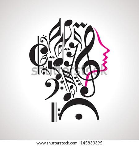Vector music head - stock vector