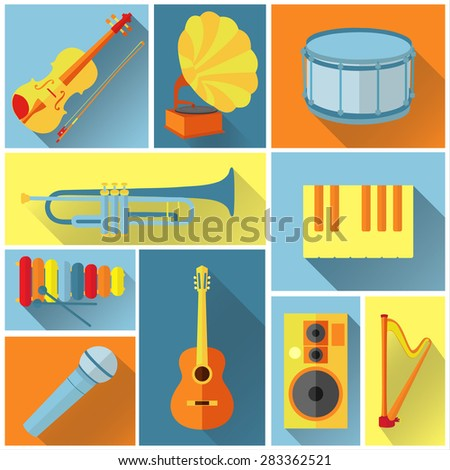 Vector music icons in flat style - stock vector