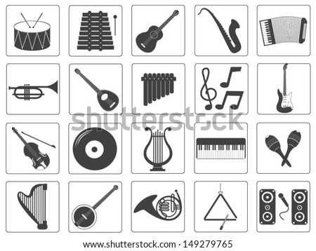 Vector Music Instrument Icons Set - stock vector
