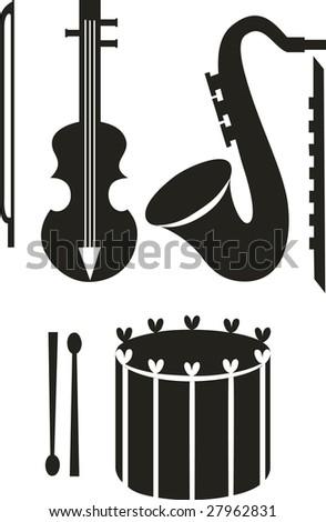Vector. Music instrument sets. - stock vector