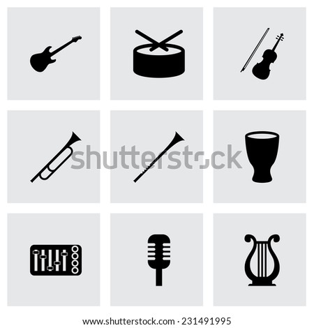 Vector music instruments icon set on grey background - stock vector