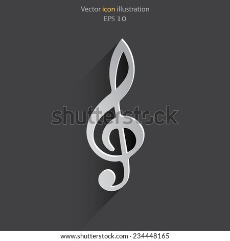 Vector music key flat icon. Eps 10. - stock vector