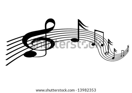 Vector music line on a solid white background