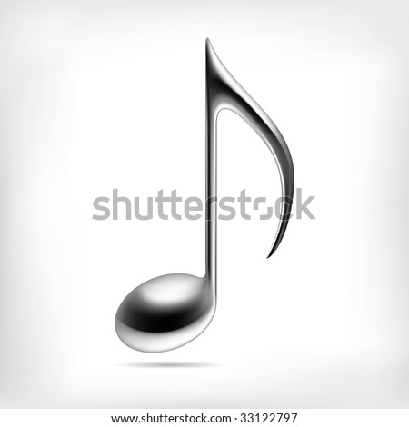 Vector music note. 3D metallic music logo symbol or icon for club party or school design