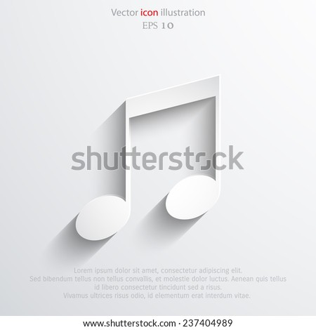 Vector music note web icon. Eps 10. - stock vector
