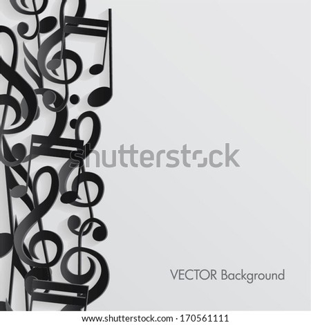 vector music notes background  - stock vector