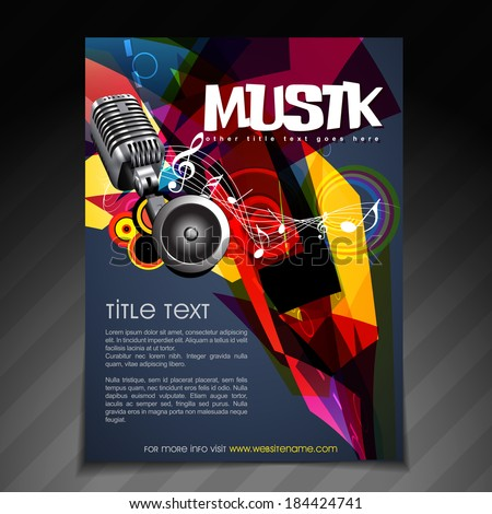 vector music party brochure flyer template design - stock vector