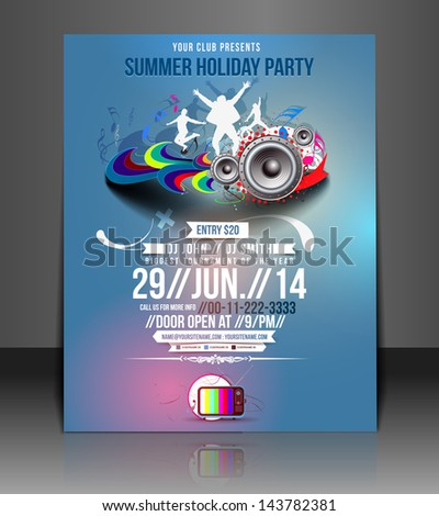 Vector Music Party Flyer, Magazine Cover & Poster Template - stock vector