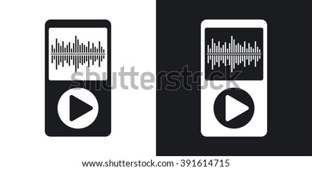Vector music player icon. Two-tone version on black and white background - stock vector