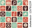 Vector music seamless pattern with icons and pictograms - stock photo
