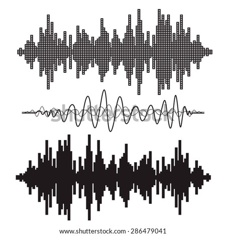 Vector music sound waves set. Audio sound equalizer technology, pulse musical. Vector illustration - stock vector