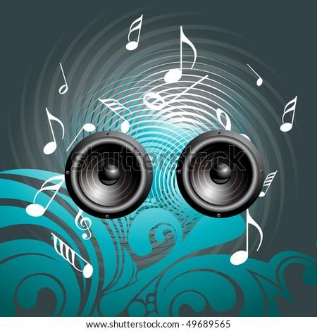 vector music speaker background art - stock vector