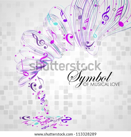 Vector musical background with colorful musical notes and waves and copy space for your text. EPS 10. can be use as flyer, banner, poster or template for musical events and other occasions. - stock vector