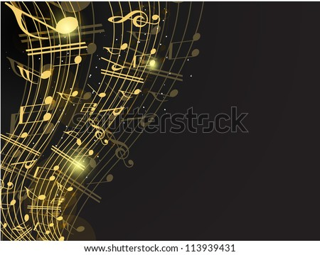 Vector musical background with musical notes and waves and copy space for your text. EPS 10. can be use as flyer, banner, poster or template for musical events and other occasions. - stock vector